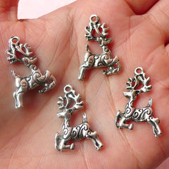 Reindeer Charms Deer Charm (4pcs) (16mm x 23mm / Tibetan Silver / 2 Sided) Christmas Charms Pendant Bracelet Earrings Zipper Pulls CHM521
