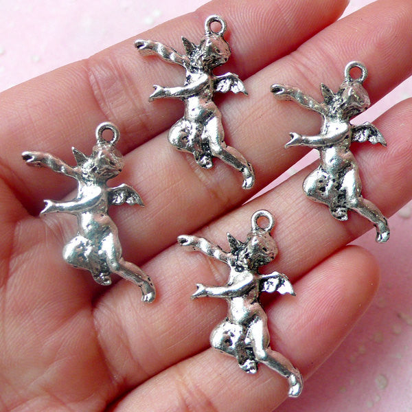 Cherub Charms Angel Charm (4pcs) (15mm x 27mm / Tibetan Silver) Pendant DIY Bracelet Earrings Zipper Pulls Valentines Keychains CHM509