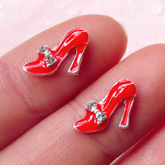 Tiny High Heel Cabochon (2pcs / 11mm) (Red w/ Clear Rhinestones) Fake Miniature Cupcake Topper Earring Making Nail Art Decoration NAC130