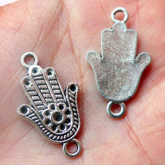 Hamsa Hand Connector Charms (3pcs) (17mm x 29mm / Tibetan Silver) Khamsa Palm Charms Pendant Bracelet Earrings Bookmark Keychains CHM531