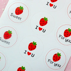 Strawberry Sticker (2 Sets / 24pcs) Kawaii Seal Sticker Handmade Gift Scrapbooking Packaging Party Gift Wrap Diary Deco Collage Decor S129