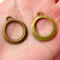 Circle Charms Round Charms (6pcs) (21mm x 25mm / Antique Bronze) Findings Pendant Bracelet Earrings Zipper Pulls Bookmark Keychains CHM540