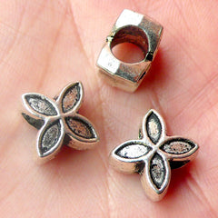 4 Petal Flower Beads (3pcs) (10mm / Tibetan Silver / 2 Sided) Metal Flower Beads Findings Spacer Pendant DIY Bracelet Earrings CHM544