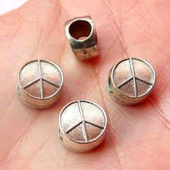 Peace Sign Beads (4pcs) (10mm / Tibetan Silver / 2 Sided) Metal Peace Symbol Beads Findings Spacer Pendant DIY Bracelet Earrings CHM545