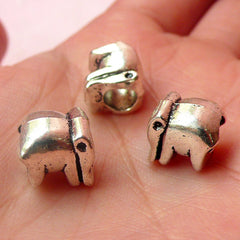 Elephant Beads (3pcs) (10mm / Tibetan Silver / 2 Sided) Metal Animal Beads Findings Spacer Pendant DIY Bracelet Earrings Making CHM548