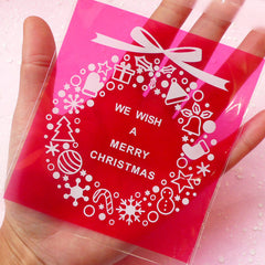 CLEARANCE Merry Christmas Gift Bags (20 pcs) Self Adhesive Resealable Plastic Bags Handmade Gift Kawaii Wrapping Bags Packaging (9.7cm x 11cm) GB038