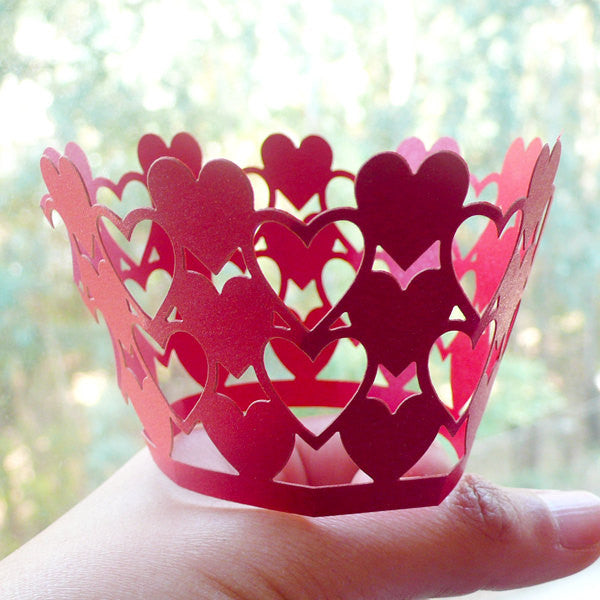 Cupcake Wrappers - Red Heart - Laser Cut Red Cupcake Wrapper - Valentines Cake Deco / Cupcake Decoration / Packaging (6pcs) CUP13