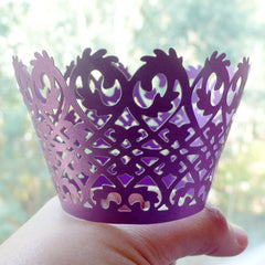 Cupcake Wrappers - Purple Lace - Laser Cut Purple Cupcake Wrapper - Cake Deco / Cupcake Decoration / Packaging (6pcs) CUP16