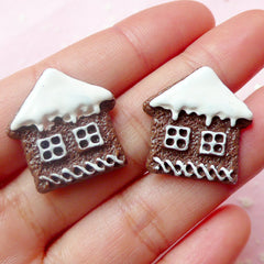 Gingerbread Man House Sugar Cookie Cabochon Miniature Biscuit Cabochon (2pcs / 23mm) Kawaii Christmas Dollhouse Sweets Embellishment FCAB192
