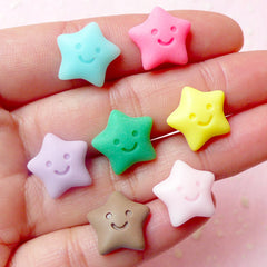 Decoden Star Cabochons w/ Happy Smiley Face (7pcs / 15mm / Pastel Color) Kawaii Fairy Kei Deco Scrapbooking Miniature Cupcake Topper FCAB196