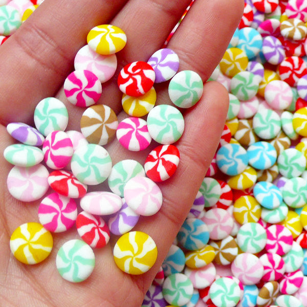 Peppermint Cabochon / Polymer Clay Candy Cabochon (10pcs by RANDOM / 9mm / Colorful) Miniature Sweets Kawaii Deco Fairy Kei Decoden FCAB197