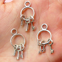 3D Key Chain w/ Key Charms (3pcs) (12 x 27mm / Tibetan Silver) Metal Finding Pendant Bracelet Earrings Zipper Pulls Key Chains CHM555
