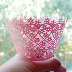 Cupcake Wrappers - Light Pink Flower - Laser Cut Pink Cupcake Wrapper - Cake Deco / Cupcake Decoration / Packaging (6pcs) CUP14