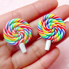 Polymer Clay Lollipop Cabochon in Rainbow Color / Fimo Candy Cabochon (2pcs / 23mm x 28mm) Kawaii Sweets Deco Dollhouse Food Jewelry FCAB185