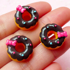 Miniature Donut Cabochons with Bow / Kawaii Doughnut Cabochon (3pcs / 16mm) Dollhouse Sweets Deco Cute Decoden Supplies Food Jewelry FCAB186