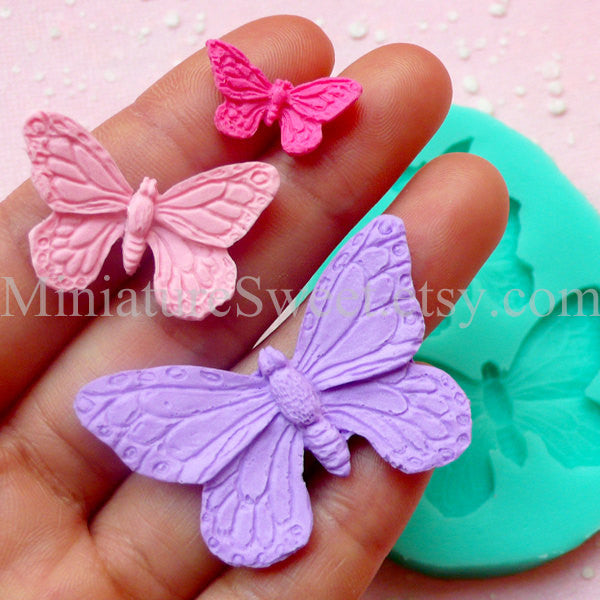 Flexible Mold Silicone Mold (Butterfly 3pcs) Kawaii Fondant Gumpaste Cupcake Topper Chocolate Resin Clay Jewelry Scrapbooking Decoden MD024