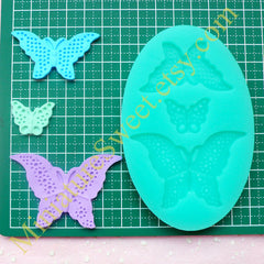 CLEARANCE Silicone Mold Flexible Mold (Butterfly 3pcs) Kawaii Fondant Gumpaste Cupcake Topper Chocolate Resin Clay Jewelry Scrapbooking Decoden MD025