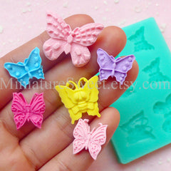 Flexible Mold Silicone Mold (Butterfly 6pcs) Kawaii Fondant Gumpaste Cupcake Topper Chocolate Resin Clay Jewelry Scrapbooking Decoden MD026