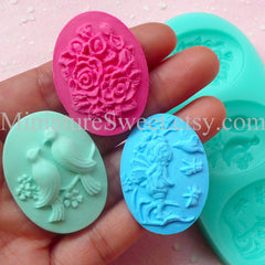 CLEARANCE Flexible Mold Silicone Mold (Flower Bird Angel Cameo 3pcs) Gumpaste Fondant Cupcake Topper Chocolate Jewelry Scrapbooking Push Mold MD028