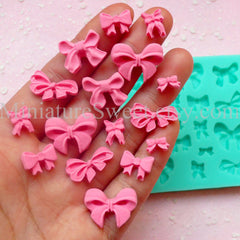 Flexible Mold Silicone Mold (Ribbon Mold 16pcs) Kawaii Gumpaste Fondant Cupcake Topper Chocolate Mold Resin Clay Jewelry Scrapbooking MD027