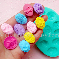 CLEARANCE Silicone Mold Flexible Mold (Victorian Lady Flower Animal Cameo 10pcs) Fondant Gumpaste Cupcake Topper Resin Jewelry Scrapbooking MD031