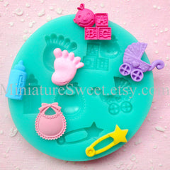 Silicone Mold Flexible Mold (Baby Stroller Foot Bib  Bottle 6pcs) Fondant Gumpaste Cupcake Topper Chocolate Clay Resin Scrapbooking MD034
