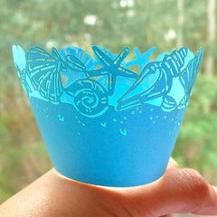 Cupcake Wrappers - Blue Sea Shell Sea Star- Laser Cut Blue Cupcake Wrapper - Cake Deco / Cupcake Decoration / Packaging (6pcs) CUP19