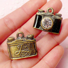 3D Film Camera Charms (1pc) (23mm x 21mm / Antique Bronzed) Metal Finding Pendant Bracelet Earrings Zipper Pulls Bookmark Keychains CHM556
