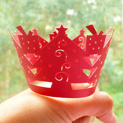 Cupcake Wrappers - Red Christmas Tree & Gift - Laser Cut Red Cupcake Wrapper - Cake Deco / Cupcake Decoration / Packaging (6pcs) CUP18