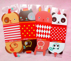 Clear Gift Bags with Kawaii Animal Base (4 pcs / Dog Cat Bunny Panda) Plastic Handmade Gift Candy Chocolate Cookie Bag Wrapping Bags GB069