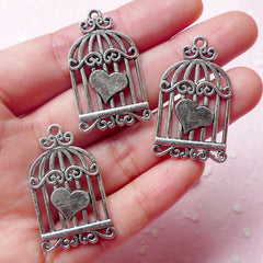 Bird Cage w/ Heart Charms (3pcs) (34mm x 20mm / Tibetan Silver) Finding Pendant Bracelet Earrings Zipper Pulls Bookmark Keychains CHM560