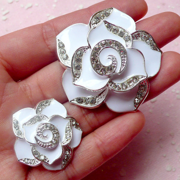 Rose Flower Metal Cabochon (2pcs / White, Silver with Clear Rhinestones / 27mm & 42mm) Bling Bling Floral Embellishment Wedding Decor CAB291