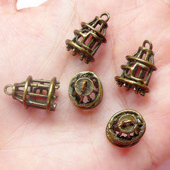 3D Bird Cage Charms (5pcs) (12mm x 17mm / Antique Bronze) Metal Finding Pendant Bracelet Earrings Zipper Pulls Bookmark Keychains CHM564