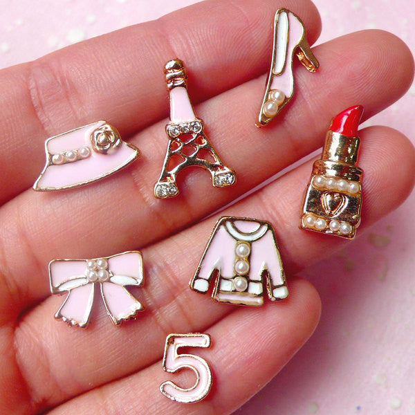 Lady Fashion Cabochon w/ Pearl (7pcs / 10mm to 19mm / Light Pink / Eiffel Tower Highheel Lipstick Cloth Ribbon Hat) Decoden Pieces CAB293