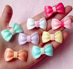 Kawaii Bow Cabochon Mix Assorted Bowtie Cabochon Set (34mm / Pastel Color / 8pcs) Jewelry Making Cell Phone Deco Decoden Scrapbooking CAB294