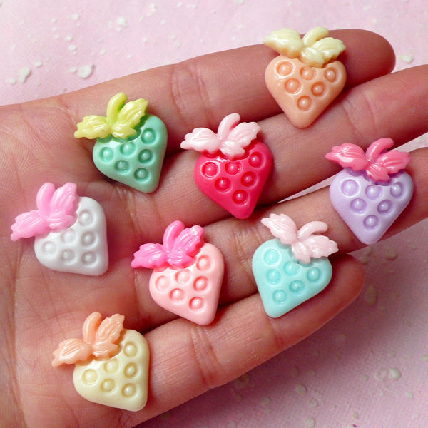 CLEARANCE Pastel Cabochon / Strawberry Cabochons / Fruit Cabochons (8pcs / Colorful Mix / 16mm x 20mm) Fairy Kei Decoden Kawaii Scrapbooking FCAB200