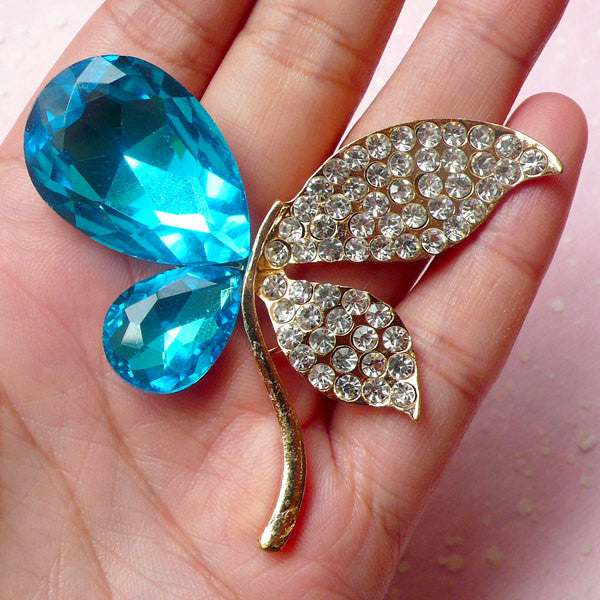 Big Butterfly Cabochon / Insect Metal Cabochon (Gold with Blue & Clear Rhinestones / 62mm x 53mm) Bling Brooch Making Embellishment CAB302