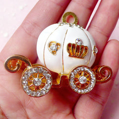 Cinderella Pumpkin Carriage Metal Cabochon (White, Gold w/ Clear Rhinestones) (45mm x 46mm) Cell Phone Decoden Jewelry Making CAB304