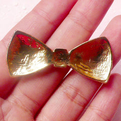 Bow Metal Cabochon (Black and Gold / 46mm x 20mm) Kawaii Bowtie Cabochon Cell phone Deco Decoden Scrapbooking Hair Clip Making CAB315