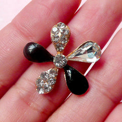 Metal Flower Cabochon / Rhinestones Floral Cabochon (23mm / Black with Clear Rhinestones) Bling Hair Bow Center Wedding Embellishment CAB318
