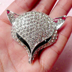 Rhinestone Animal Cabochon / Alloy Metal Fox Cabochon (Silver / 50mm x 44mm) Cell Phone Deco Sparkle Embellishment Hair Bow Center CAB324