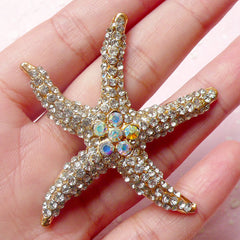 Sea Star / Starfish Metal Cabochon (Gold with Clear Rhinestones / 54mm) Bling Bling Seastar Cell Phone Deco Scrapbooking Decoden CAB325
