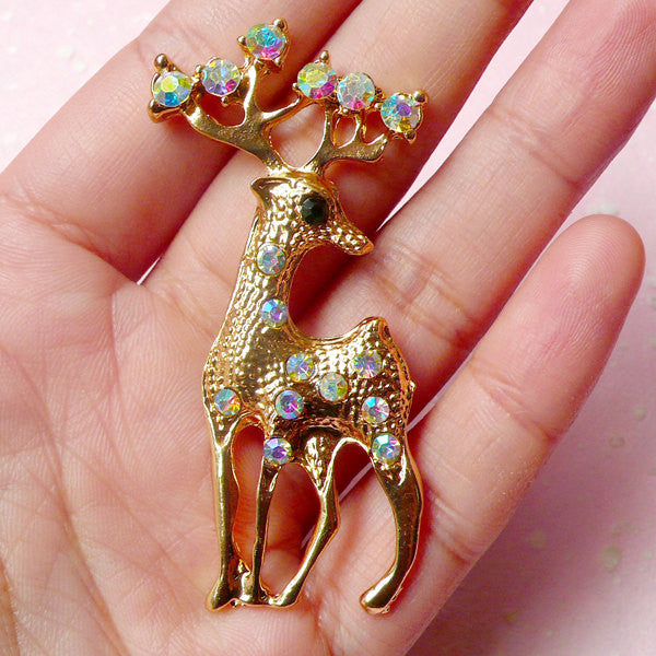 Reindeer Metal Cabochon (Gold w/ AB Clear Rhinestones / 28mm x 61mm) Animal Phone Case Deco Scrapbooking Christmas Decoration Decoden CAB328