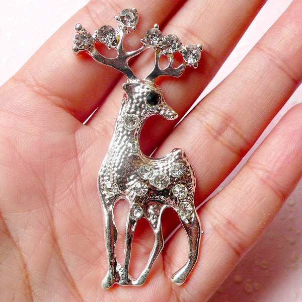 Reindeer Metal Cabochon (Silver w/ Clear Rhinestones / 28mm x 61mm) Animal Phone Case Deco Scrapbooking Christmas Decoration Decoden CAB330