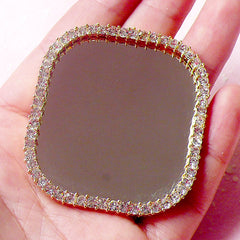 Rhinestone Mirror Cabochon / Cell Phone Mirror / Kawaii Dollhouse Mirror (Square / 48mm x 53mm) Bling Bling Decoration Scrapbooking CAB305