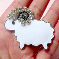 Sheep Cabochon Lamb Metal Cabochon (White with Clear Rhinestones / 49mm x 41mm) Kawaii Animal Bling Bling Cell Phone Deco Decoden CAB308