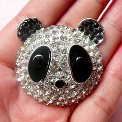 Panda Metal Cabochon (Silver with Clear, Black Rhinestones / 38mm) Kawaii Animal Bling Bling Cell Phone Deco Decoden Scrapbooking CAB311
