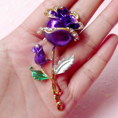 Rose Flower Metal Cabochon (Gold and Purple w/ Clear Rhinestones) (69mm) Cell Phone Deco Scrapbooking Decoration Decoden Floral CAB313