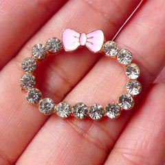 Rhinestone Wreath Cabochon with Bow for iPhone 5 and 6 Case / Bling Bling Camera Hole Decoration (Pink) Lolita Phone Case Decoden Supplies CAB317