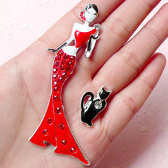 Lady and Cat Metal Cabochon w/ Red and Clear Rhinestones (23mm x 78mm) Cell Phone Deco Jewelry Making Decoden Scrapbooking CAB322